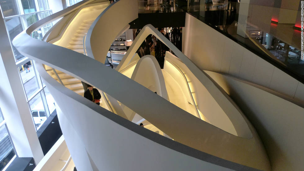 Armani's 5th Avenue store is no less architectually complex on the inside.