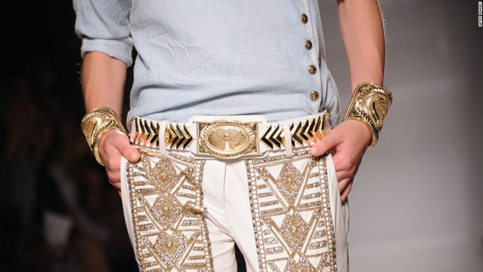 A detail of a model on the runway during the Balmain Ready-to-Wear Spring/Summer 2012 show in Paris. Always a hit with buyers, Balmain's show followed light-palette and structure trends.
