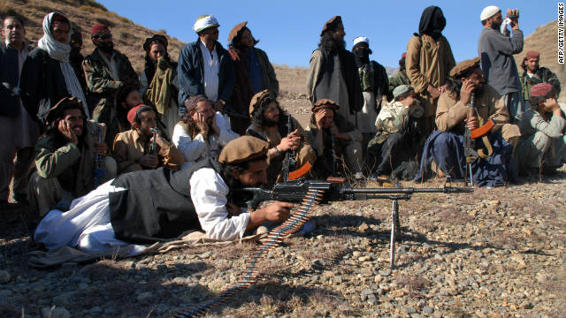 Pakistani Taliban gather in an open area of Mamouzai in Orakzai Agency on November 26, 2008.