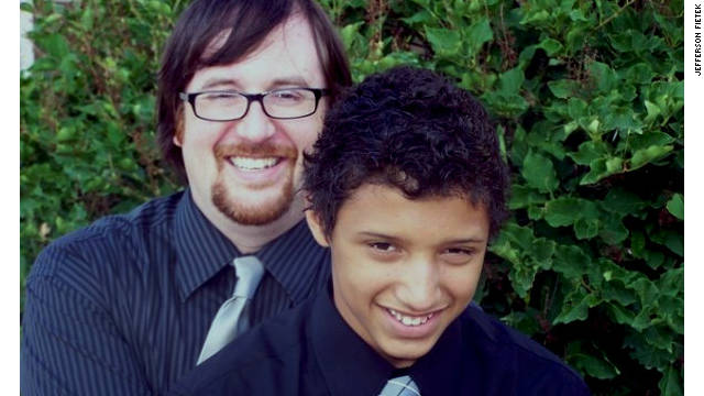 Damon Fietek, pictured with his father Jefferson, says he's been a target for bullies because his dad is gay.