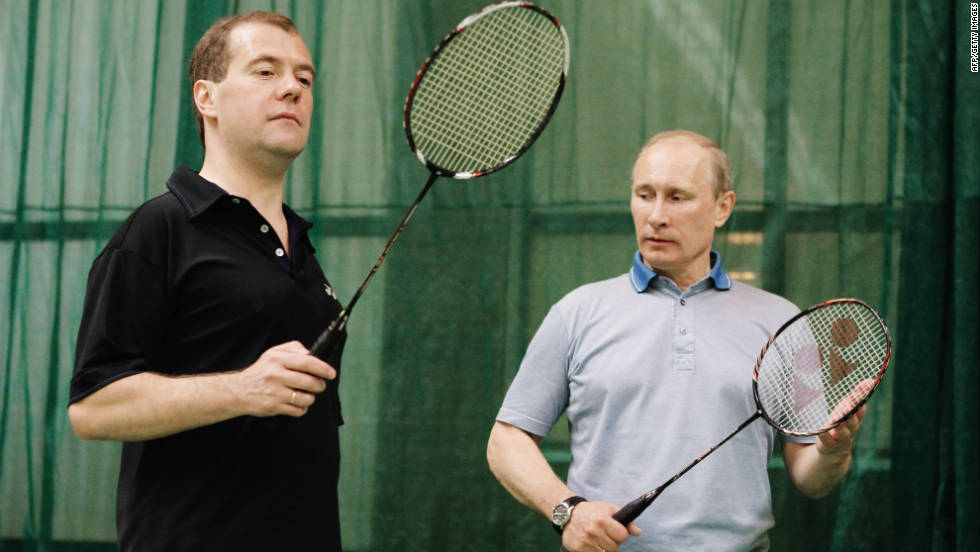 Russia's prime minister Vladimir Putin, right, has announced his intention to seek a return to the role held by his successor as president, Dmitry Medvedev, left.