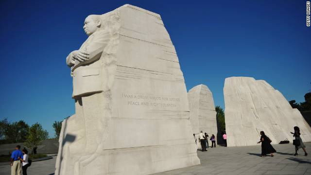 The Martin Luther King Jr. Memorial sits on the Tidal Basin between the Lincoln Memorial and the Thomas Jefferson Memorial.