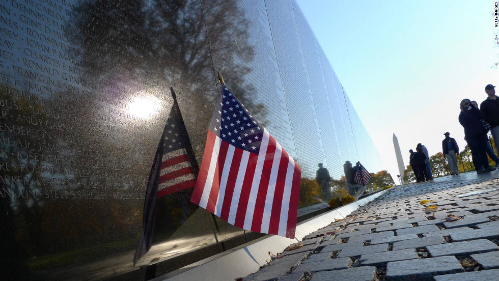 The black granite wall of the Vietnam Veterans Memorial bears 58,267 names of those who died in the Vietnam War, but it's possible for that number to change each Memorial Day depending on submissions to the Department of Veterans Affairs.