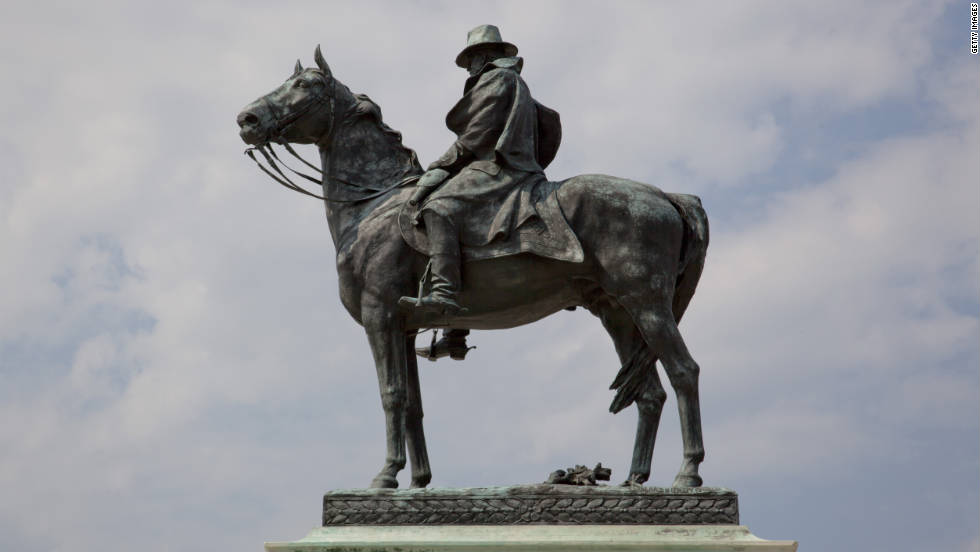 Ulysses S. Grant forever sits astride his favorite horse, Cincinnatus. There are reliefs of two infantry groups on the pedestal for the statue of the 18th U.S. president and commander of Union forces in the Civil War.