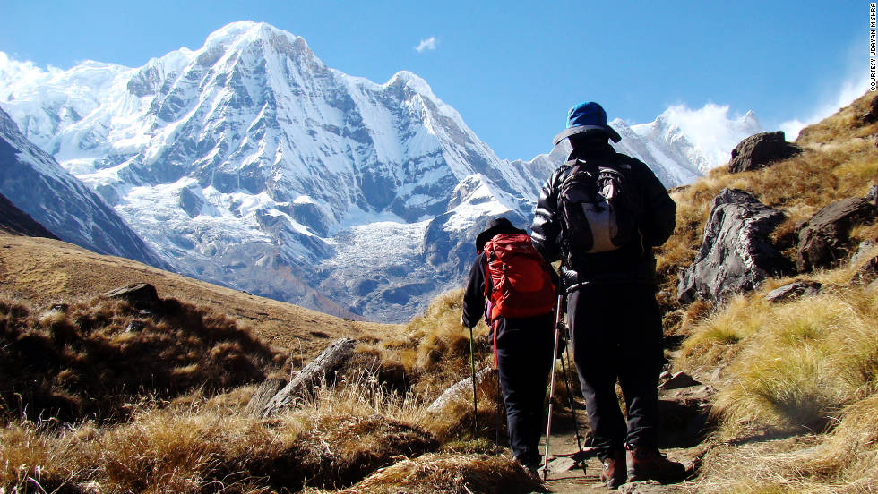 iReporter Udayan Mishra captures trekkers as they walk their final steps to reach Annapurna base camp in Nepal.
