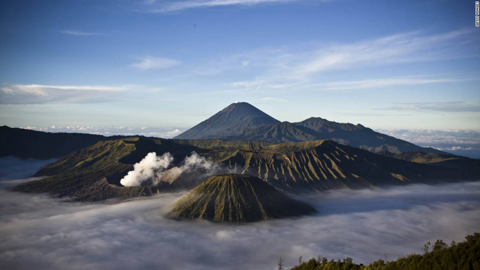 You can hire a four-wheel drive to take you within five meters of the summit of the steaming Bromo National Park volcanoes.
