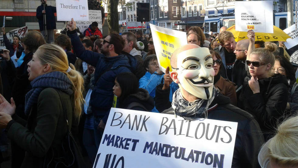 More than 2,000 people protested in Amsterdam on Saturday, iReport contributor Sarah Matson said.