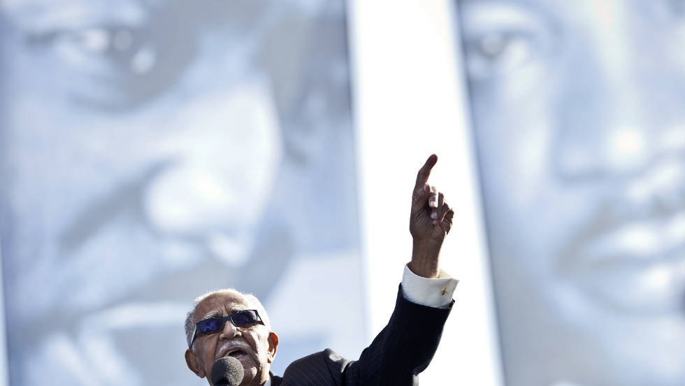 The Rev. Joseph Lowery speaks during the ceremony on the National Mall.  Other speakers at the dedication included the Rev. Al Sharpton; actresses Cicely Tyson, Diahann Carroll and 12-year-old Amandla Stenberg; and Marian Wright Edelman, founder and president of the Children's Defense Fund.