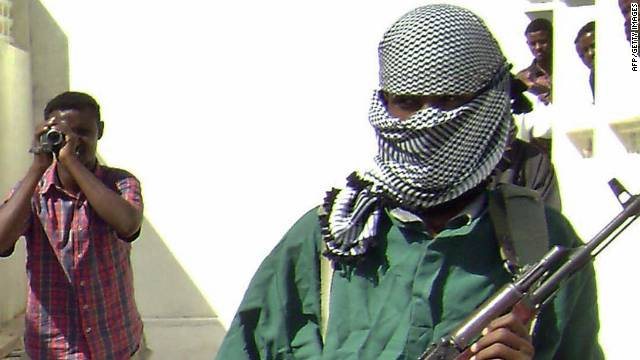A masked member of the Al Shabaab militia, pictured in a photograph dated December 14, 2008.