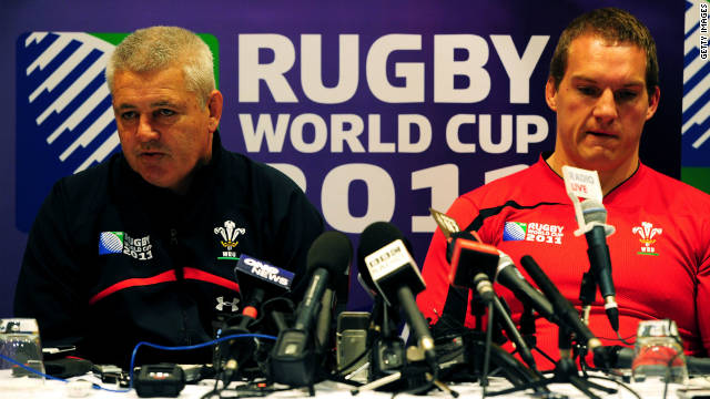 Wales coach Warren Gatland, left, alongside Gethin Jenkins, who will captain his country on Friday.