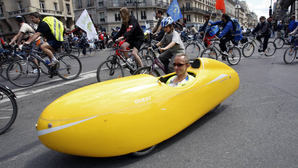 In France, the use of a velo (french for bicycle) system has been in place for many years and the activity has developed to a much-loved pasttime. Cyclists ride during the annual Fete du Velo (bicycle party) in Paris.