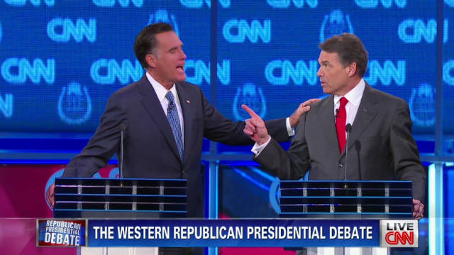 Mitt Romney, left, and Rick Perry argue in the CNN/Western Republican debate on Tuesday.