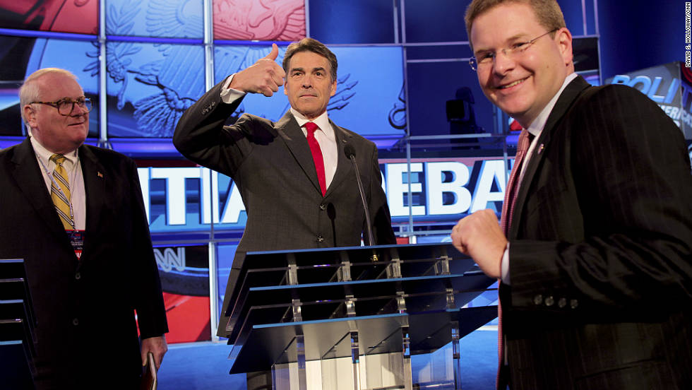 Perry gives the thumbs up at rehearsal.  The bad blood between Romney and Perry boiled over in the debate's first hour as the two GOP heavyweights traded harsh accusations and showed flashes of anger.