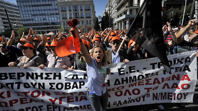 Health workers demonstrate in  Athens ahead of a vote in Parliament on a new bill to stave off bankruptcy.