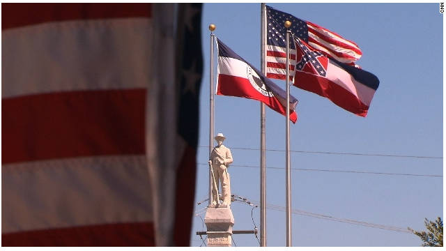 A monument honoring the Civil War confederacy stands in the center of Brandon, Mississippi.
