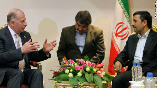 Iranian President Mahmoud Ahmadinejad, right, meets with Iraqi Parliament Speaker Osama al-Nujaifi, left, in Tehran on October 2.