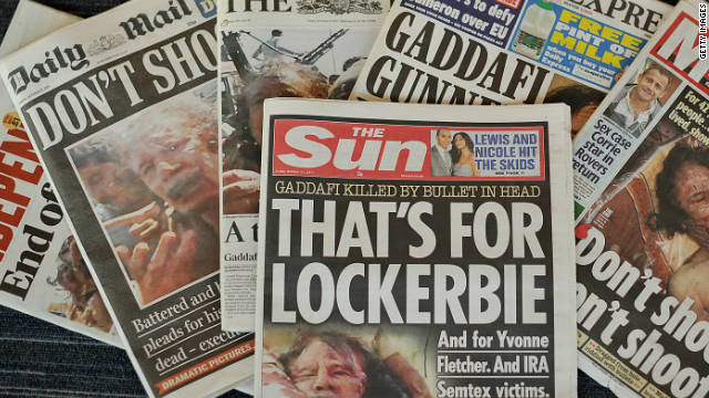 The death of Moammar Gadhafi features on the front of all Britain's newspapers.