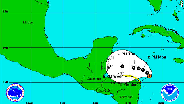 The National Hurricane Center says a tropical depression near Honduras will become Tropical Storm Rina on Sunday or Monday.