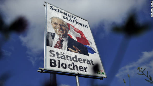 The Swiss People's Party have been running an aggressive poster campaign.