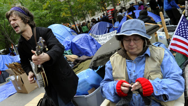 Occupy Wall Street demonstrators continue their protest at Zuccotti Park in New York on October 23.