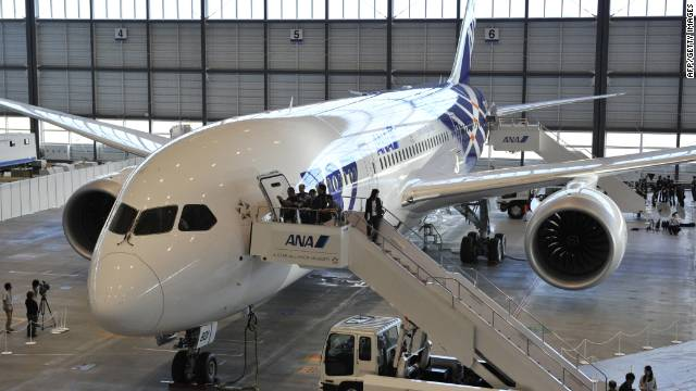 The first All Nippon Airways (ANA) Boeing 787 Dreamliner is displayed during a press preview at Tokyo's Haneda airport on September 28.
