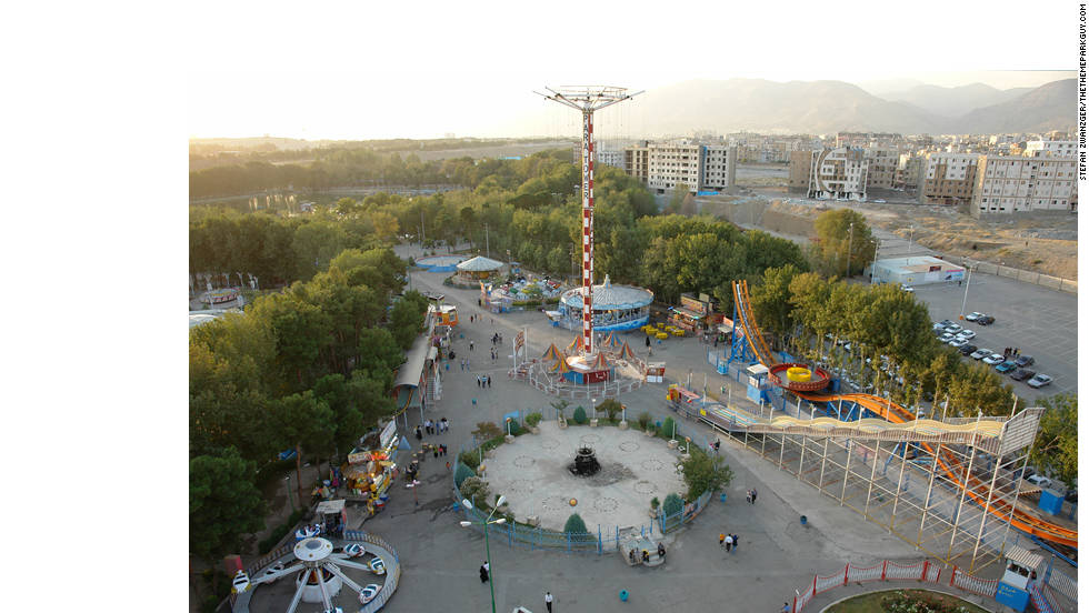 An aerial view of Tehran's Eram Park.
