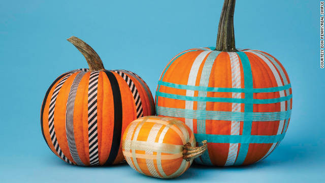 Create a plaid pumpkin using colorful Washi tape.