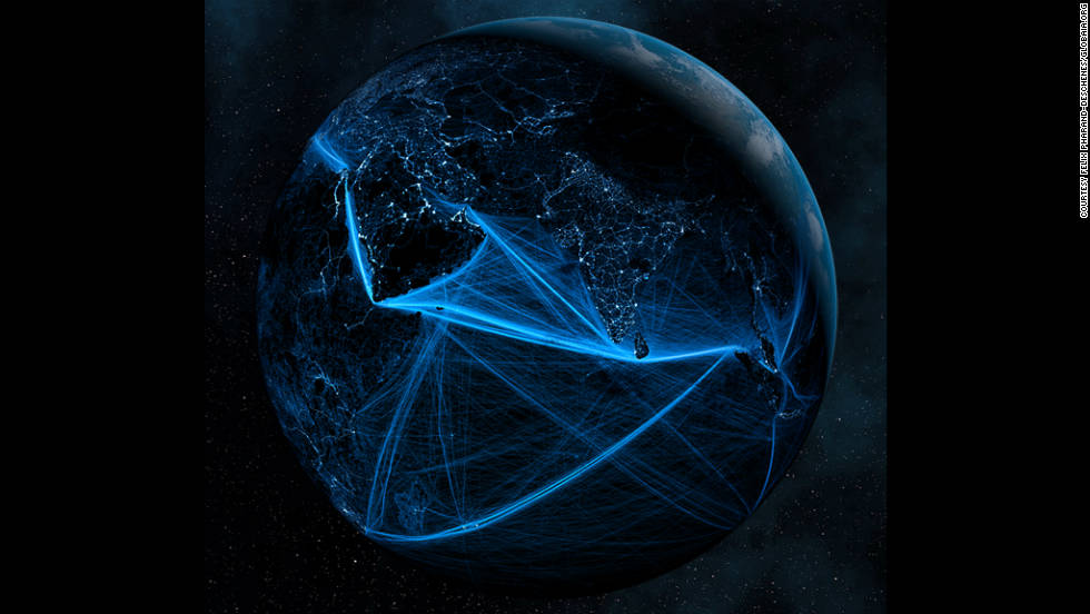 The Indian Ocean comes alive with electric blue shipping lane trails. Pharand's visualizations come in the same week as the U.N. says that global population figures are set to reach seven billion.