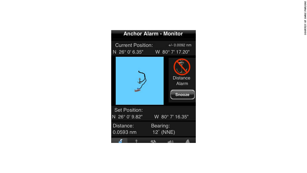 The Anchor Alarm allows you to set your position to an anchor point, and if you stray from it an alarm will sound.