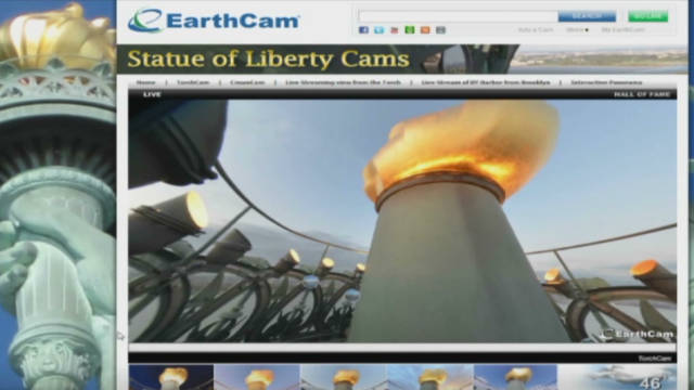 Web cams stream video from Lady Liberty