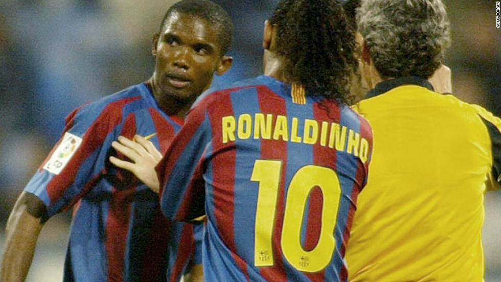 Samuel Eto'o, one of Africa's greatest players, tried to walk off the pitch in protest after being racially abused while playing for Barcelona against Real Zaragoza in Spain in 2006. His teammates and the referee persuaded him to stay on.