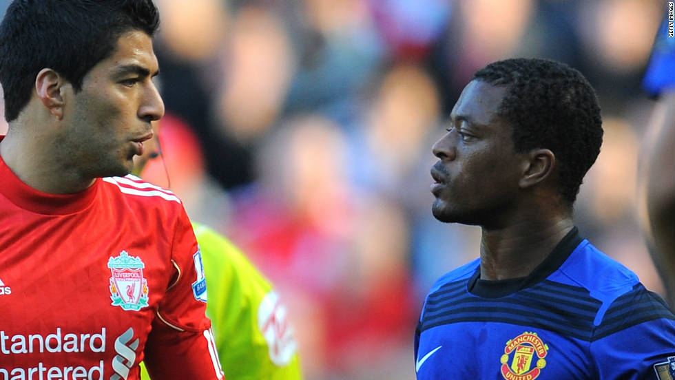 Liverpool's Luis Suarez was banned and fined by the English Football Association after Manchester United's Patrice Evra claimed the Uruguayan racially insulted him during a match, also in October 2011. Suarez flatly denies Evra's claims.