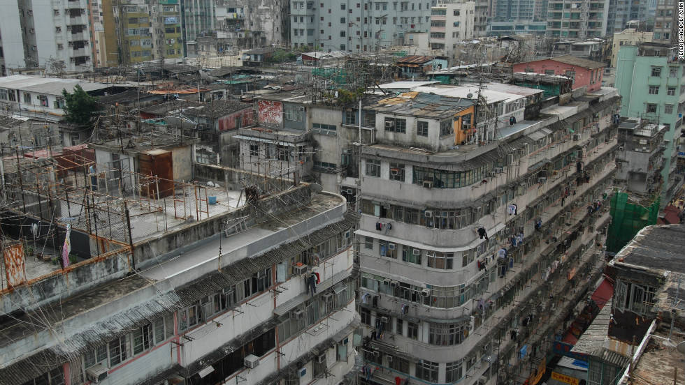 Rooftop slums clutter the roofscape of Hong Kong's Sham Shui Po district -- settlements that are often tolerated by authorities.