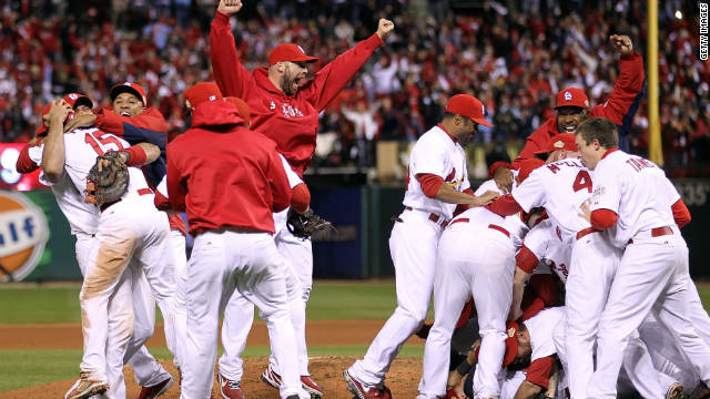 The St. Louis Cardinals celebrate after defeating the Texas Rangers 6-2 to win the World Series in October.