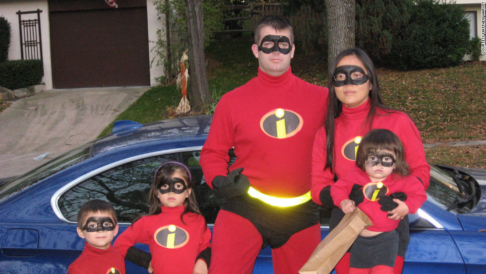 "Matthew Harvey of Columbia, Maryland, says he and his family dressed up as ""The Incredibles"" in 2008 and decided to bring out the costumes again because ""with only two kids it wasn't quite complete. So when our youngest was born, we knew we had to do it again."" They made the costumes out of red sweats and black shorts and printed out  ""The Incredibles"" logo and taped it to their sweatshirts."