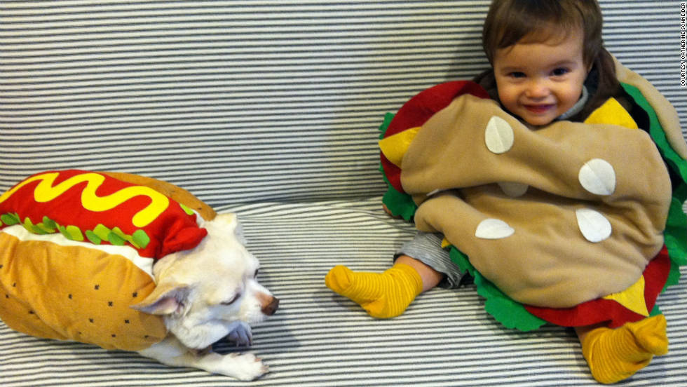 Try involving the entire family in a Halloween costume, like iReporter Catherine Schneider did with her baby burger and pet hot dog.