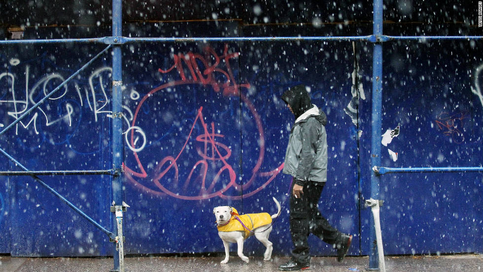 A man walks his clothed dog through the snow in Manhattan.