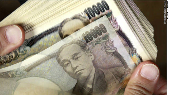 The Japanese yen fell against the euro and the dollar on Monday after a top US Treasury official expressed support for Japan's efforts to reinvigorate growth.