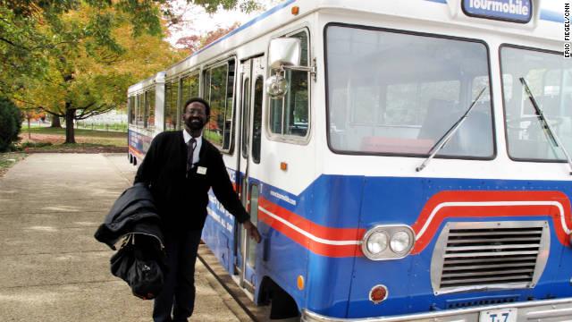 Tourmobile guide Mel Bruce says it was a pleasure to show visitors around his hometown, Washington, D.C.