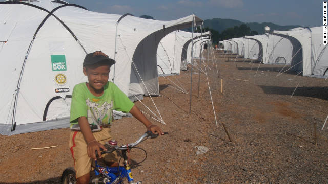 A ShelterBox tent community is constructed about 40 miles north of Bangkok.