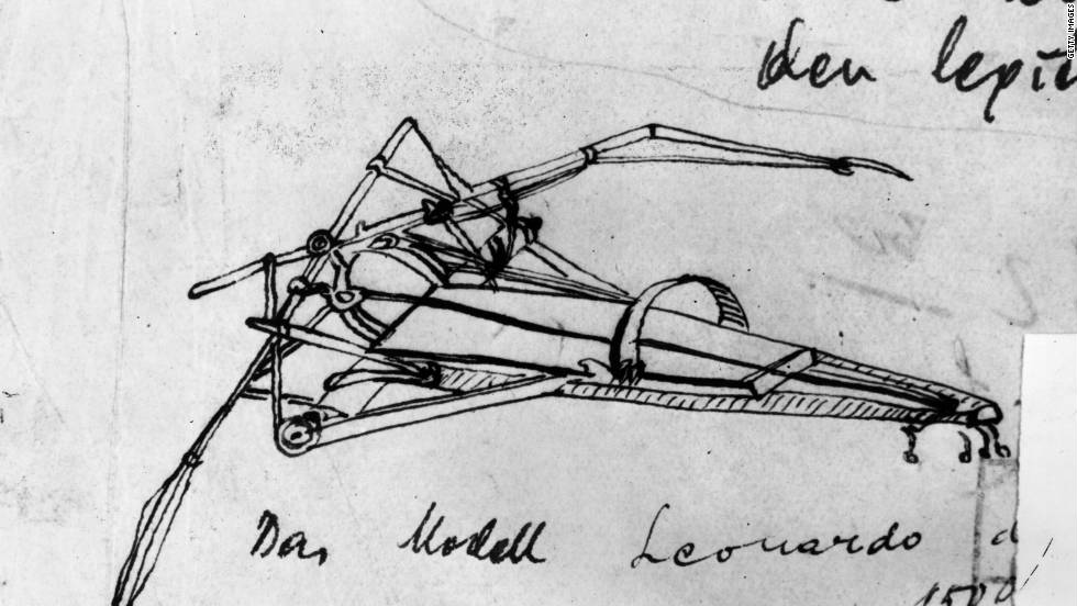 Da Vinci was a man of science as well as an artist and spent many hours theorizing about air travel. He believed that man was destined to fly and contemplated various methods of human-powered flight in his sketchbooks. Here we see a pen-and-ink sketch of a flying machine designed by da Vinci.