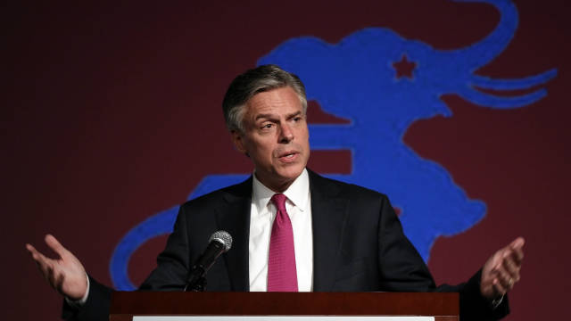 Republican presidential hopeful Gov. Jon Huntsman speaks to students at George Washington University in October.