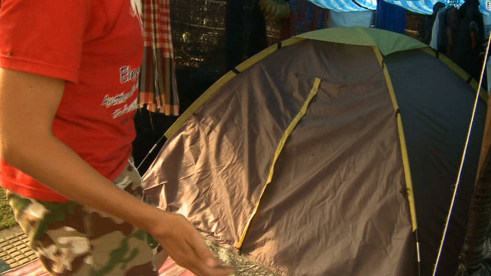 The small makeshift tent that Yvette Cagney has been living in for four weeks.