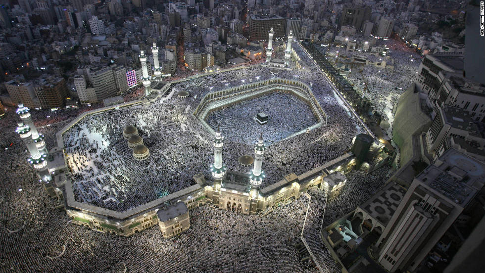 A bird's eye view of Mecca's Grand Mosque during the annual Hajj pilgrimage. This year, up to three million pilgrims will travel to the holiest city in Islam, believed to be the birth place of the prophet Mohammed.