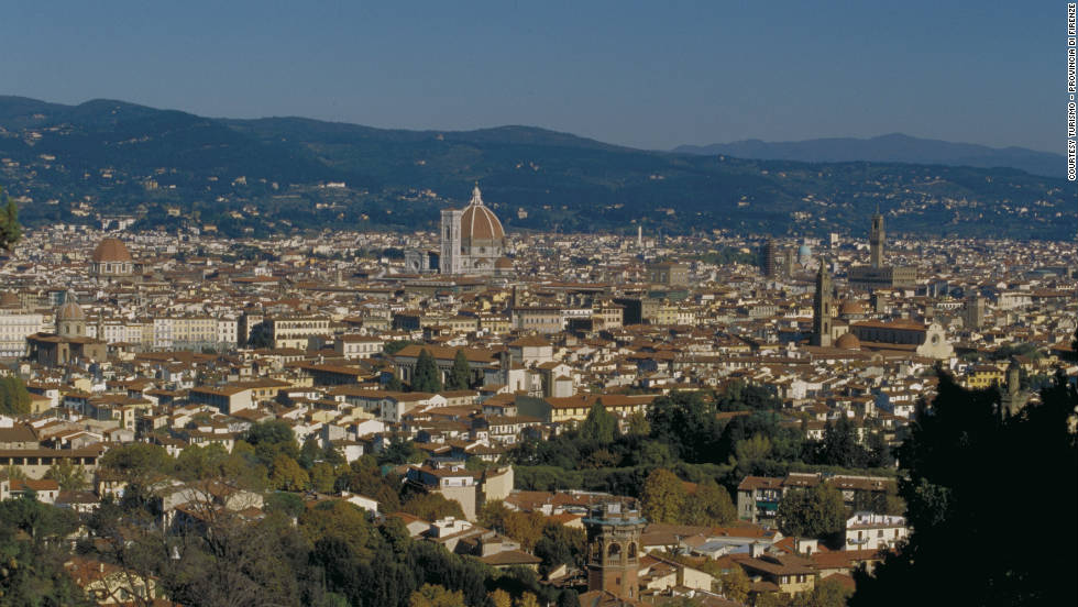 Considered the birthplace of the Renaissance, Florence's skyline is punctuated by the iconic rooftops of historic buildings. The most recognizable is the large terracotta dome of Basilica di Santa Maria del Fiore, Florence's cathedral, commonly known as the Duomo.