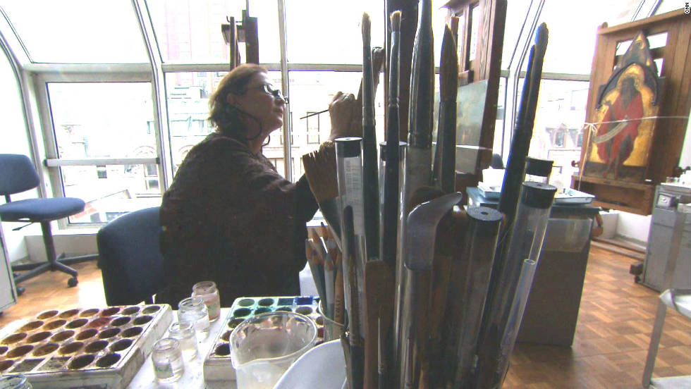 Conservator Dianne Dwyer Modestini, who cleaned and restored the painting, at work in her New York studio.