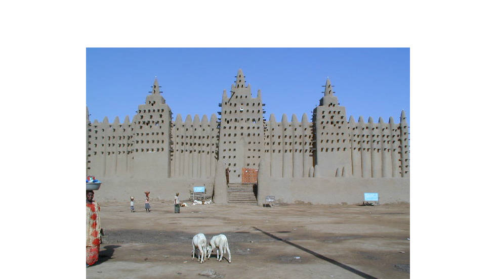 "Another inspirational structure on the African continent, the great mosque of Djenne in Mali is ""one big piece of architecture,"" says Adjaye."