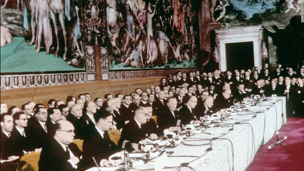 The 1957 Treaty of Rome created the European Economic Community, under which the partner nations attempted to harmonize a raft of other policies, from agriculture and fisheries to monetary policy.