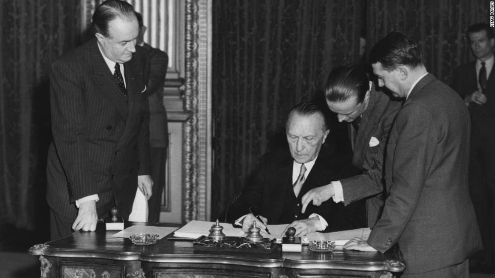 "The ECSC, which came into being with the signing of the Treaty of Paris, on 18 April 1951, was designed to make war between France and Germany ""not merely unthinkable, but materially impossible."""