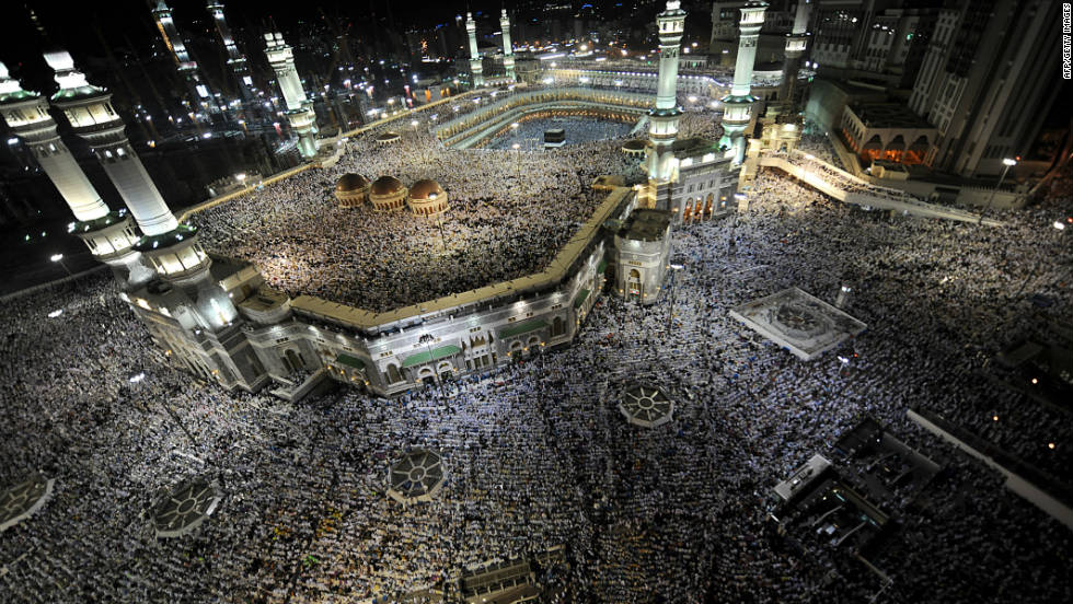 Tens of thousands of Muslim piligrims perform the evening prayer in Mecca's's Grand Mosque on Wednesday, November 2.
